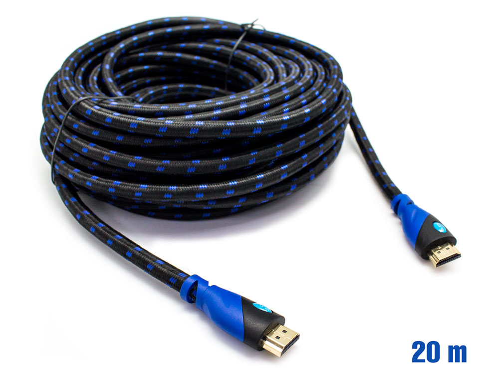 Cable hdmi mallado v 1 4 m m 24awg azul negro 20m biwond for Cable ethernet 20 metros