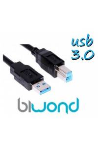 CABLE USB 3.0 - 3M BIWOND, TIPO A/M-B/M, NEGRO